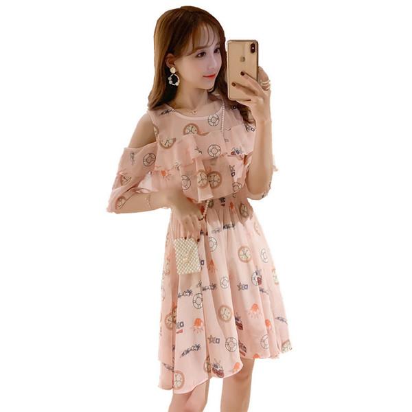 2019 Moda Verão Chiffon Impresso Zipper Vestido de Enfermagem Mulher Grávida Shoulderless Vestido de Amamentação Ruffles Vestido de Lactação