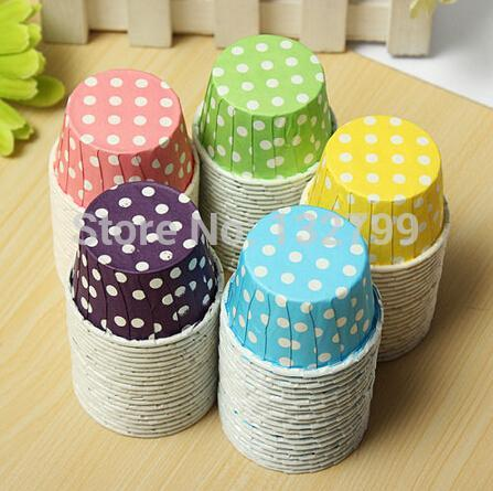 Wholesale- Cute Dot MINI Paper Cake Cup Cupcake Wrapper Cases Liner Muffin Baking DIY Wedding XMAS Party Decoration