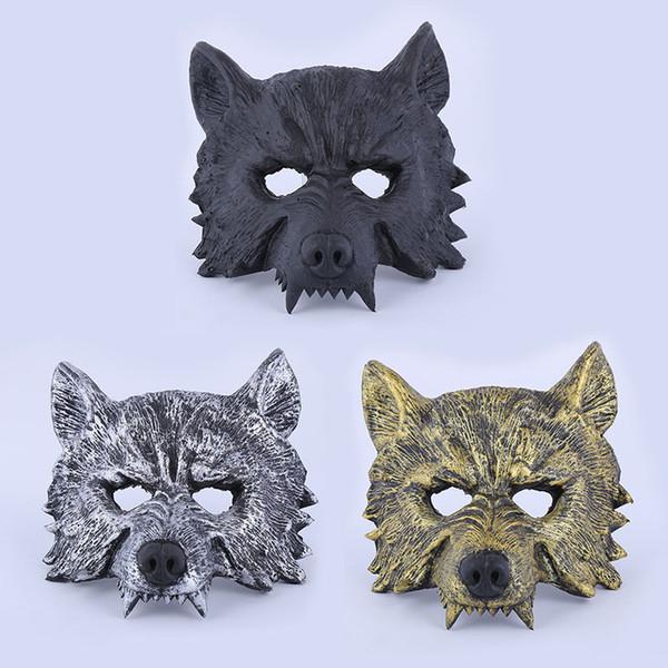 3styles Máscara de Borracha Lobo Creepy Masquerade Halloween Chrismas Partido de Páscoa Traje Cosplay Teatro Prop Cinza Lobisomem Lobo Máscara Facial FFA1986