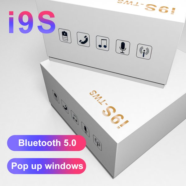 Bestsin Bluetooth Headphones I9S TWS V5.0 Mic Earphone Tws Free Call in Ear Sweatproof Sport Earphone Headset With Charger Box