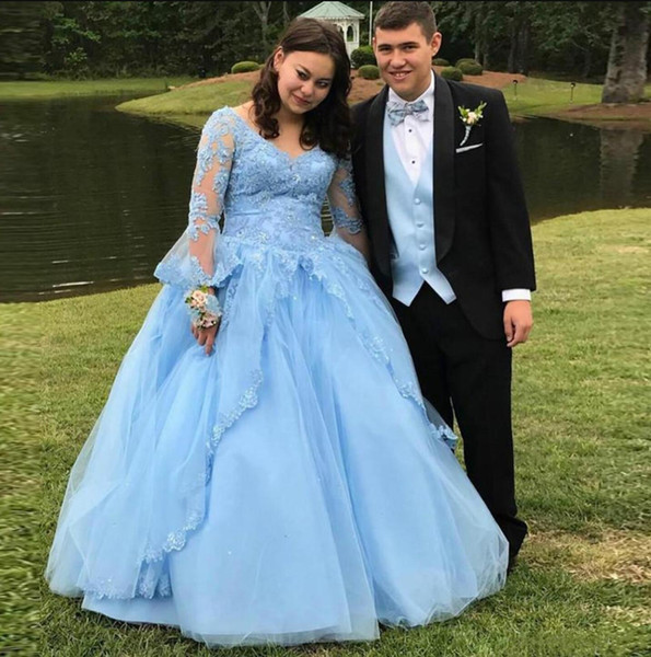 V Neck Prom Evening Dress Illusion Long Sleeve Tulle Floor Length Ball Gown Applique Elegant Lace Formal Cocktail Pageant Party Evening Gown