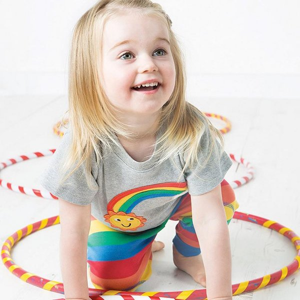 Kids Designer Clothes Girls baby t shirts for girls 3d Rainbow printed t shirt kids short sleeve for summer 100%cotton China factory