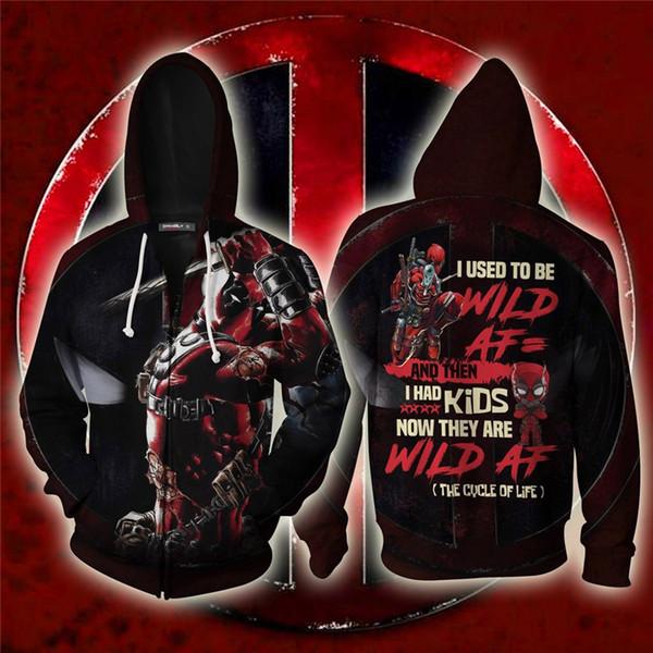 Marvel Deadpool Erkekler Kadınlar için 3D Baskılı Hoodies Tişörtü Bahar Antumn Zip up Ceketler Hip Hop Mont Adam Cosplay Giysi