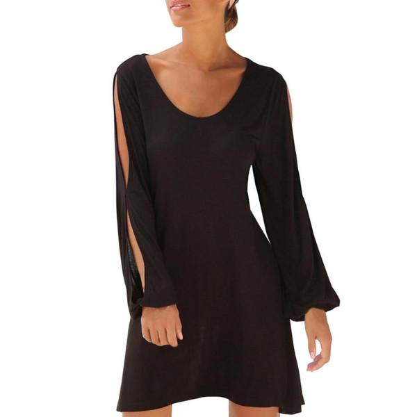 Женщины Повседневная О-Образным Вырезом с Вырезом Рукава Прямое Платье 2019 Новое платье Мода Solid Beach Стиль Мини платье женщин