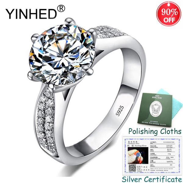 Send Silver Certificate! YINHED Luxury 2 Carat Cubic Zircon Engagement Rings for Women Real 925 Sterling Silver Jewelry PR307
