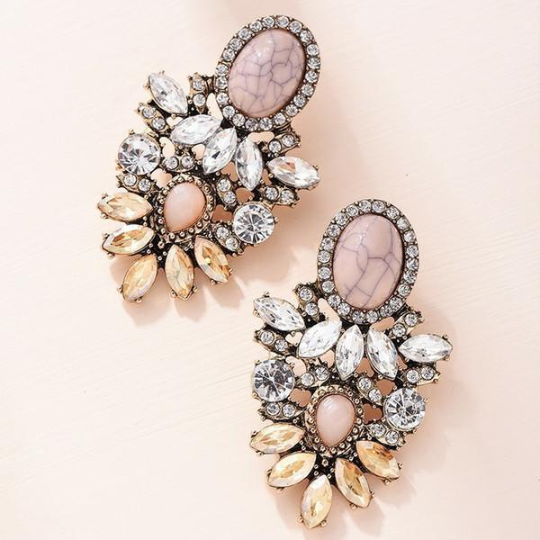 Pierre rose fleur de cristal Boucles d'oreilles pour les femmes de mode d'or strass Boucles d'oreilles cadeau de bijoux modernes