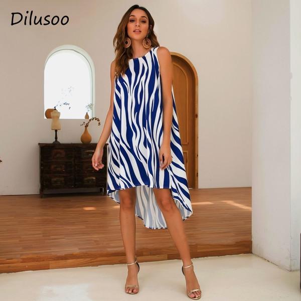 Dilusoo Зебра печати повседневная летнее платье женщины без рукавов нерегулярные О-образным вырезом свободные платья женский 2019 уличная танк Vestidos SH190712