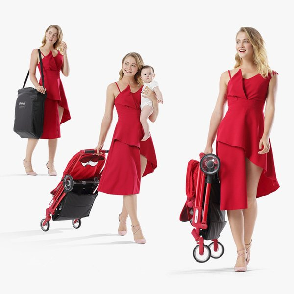 Playkids Lightweight Baby Stroller High Landscape Four-wheeled Trolley Foldable Portable Stroller Newborns Children Pushchair