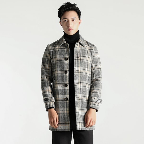 Men Wool Coats Warm Jackets Designer Gray Yellow Plaid Single Breasted Outwear Solid Overcoats Windbreakers For Man 4XL 8876