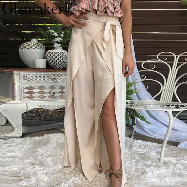 Glamaker Sexy preto dividir perna larga bottoms mulheres Elegante elástico de cintura alta calças arco Feminino verão casual praia envoltório calças