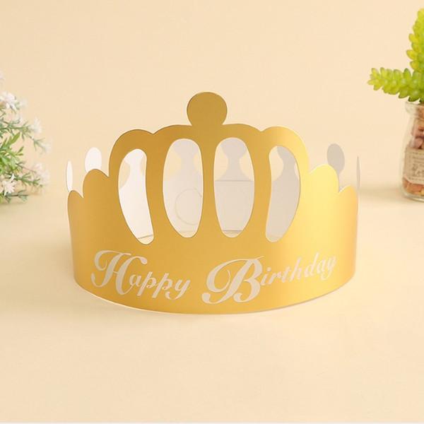 Fiesta festiva Sombreros Suministros de fiesta de cumpleaños Nuevo diseño Papel Golden Crown Desechable Cap ePacket Envío gratis