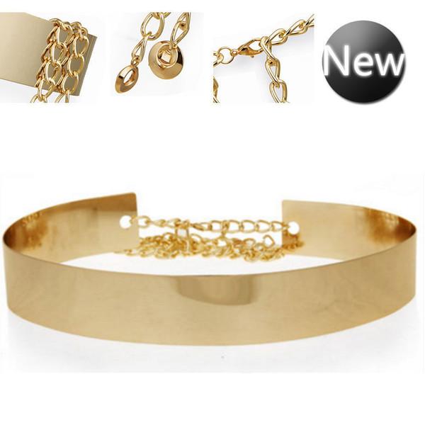 Women Full Metal Waist Mirror Wide Gold Silver Plate Waistband Chains Belt