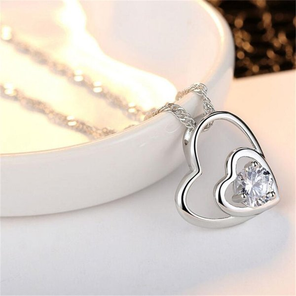 Heart Silver Necklace Real Photos Shining Crystal Love Necklaces Women Slides Heart Pendant Locket Clavicle Necklace Jewelry K3524