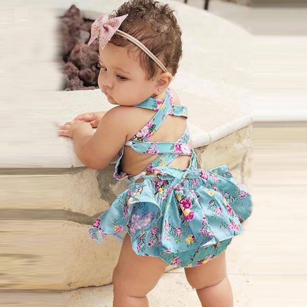 Новорожденный платье новорожденных девочек одежда спинки шнуровка с цветочным принтом ползунки сарафан рождество 2019 платье на новый год