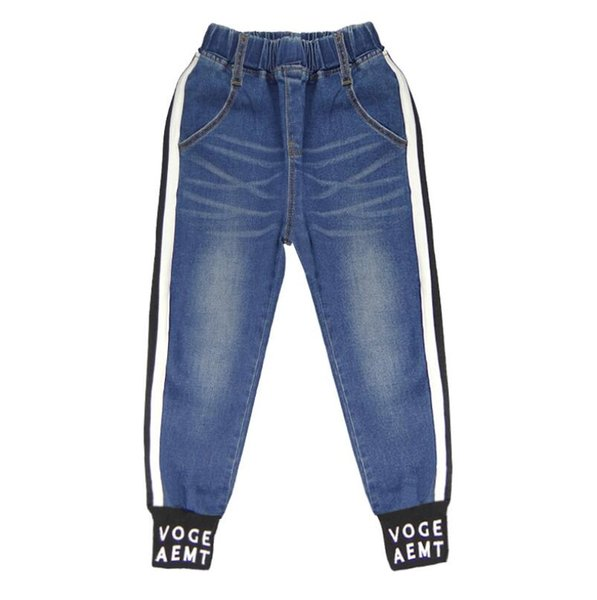 Spring New Hot Girls Jeans Designer Solid Color Letter Printed Elastic Thread Cuffs Long Pants Kid's Blue Jean