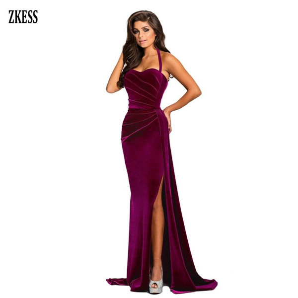 Zkess Women Black Thigh High Split Velvet Gown Maxi Sexy Halter Neck Sleeveless Bodice Backless Party Long Dress Lc610993 Q190517