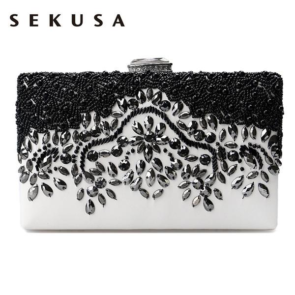 SEKUSA PU mode femmes diamants sacs de soirée luxueux embrayage messenger épaule chaîne sacs à main sac à main sac de mariage perlé # 88568