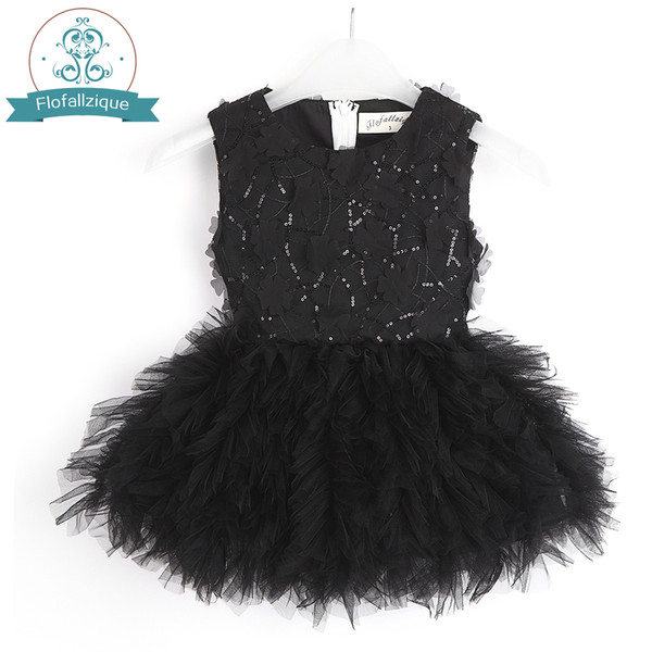 Baby Girl Tutu Dress Costume For Kids Sleeveless Christening Tulle Sequined Wedding Party Princess Dresses Toddler Girls Clothes J190616