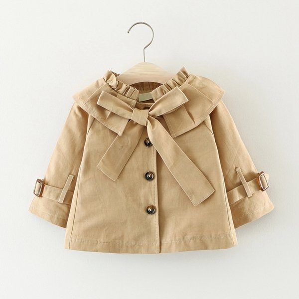 Autumn Female Baby Girls Solid Color Lapel Collar Princess Party Bow Children's Clothing Jacket Windbreaker