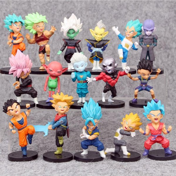 16 pcs/set 7.5cm Dragon Ball Z Action Figure funko pop WCF The Historical Characters Dragon Ball Toy action Figures for kids toys