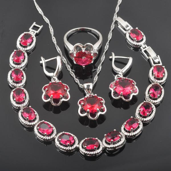 FAHOYO Doğum Hediye Kırmızı Zirkon Çiçek Tasarım Kadınlar İçin 925 Gümüş Takı Bileklik Kolye Kolye Küpe Yüzük QS0130 ayarlar