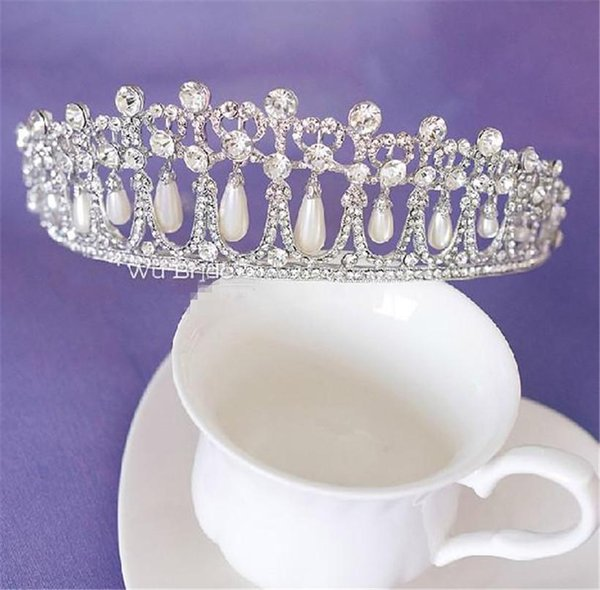 Free Shipping Princess Diana Same ABS Pearl Crown Crystal Tiara Bridal Jewelry Wedding Accessories High Quality Real Photos Classic XN0308