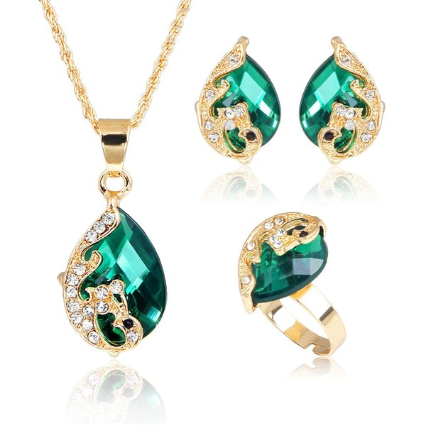 Green Cubic Zircon Water Drop Jewelry Sets 5 Color Peacock Shape Crystal Jewelry Sets Bride Wedding Necklace Earrings Adjustable Ring Set