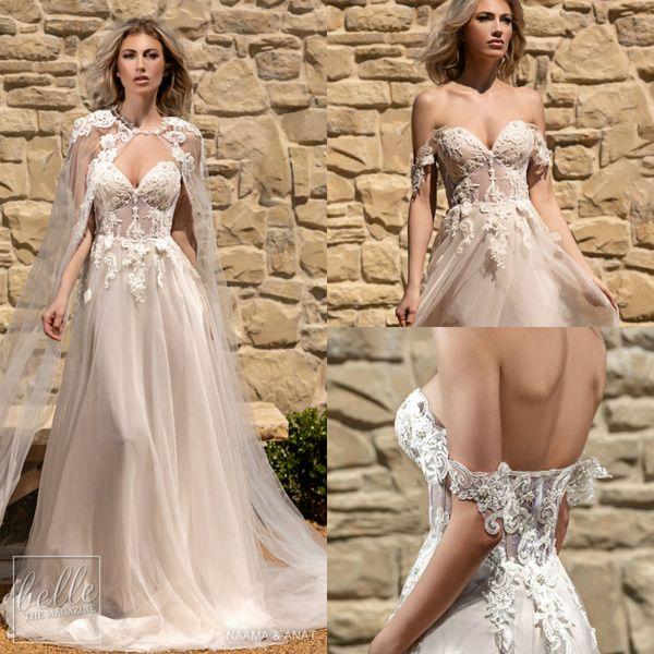 2019 Pizzo Bohemian Wedding Dresses With Wrap Jacket Sweetheart Appliques Una linea abito da sposa Sweep Train economici Boho Bridal Gowns