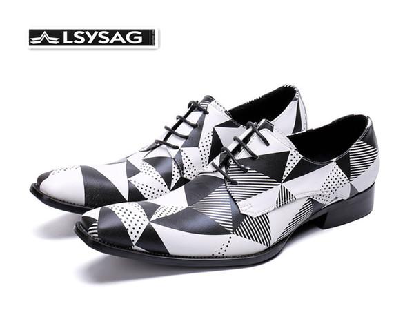 Мода Геометрической печать площади Toe Мужчина обувь Оксфорд Свадьбы зашнуровать обувь из натуральной кожи мужчин BROGUE