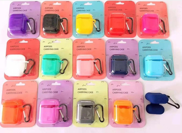 Soft waterproof case Full Protective Cover Skin Silicone Case for AirPods charging case with keychain free ship