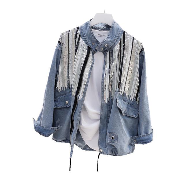 Primavera y otoño Frazzle agujero de mezclilla chaqueta de las mujeres lentejuelas bordado retro retro cordón de manga larga salvaje chaqueta TB190527
