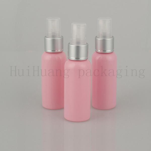50 adet 50 ml Boş Mist gümüş yaka Sprey Plastik Şişe, pembe Kozmetik Püskürtme Pompası Şişe, Seyahat Boyu Sprey Konteyner Ambalaj