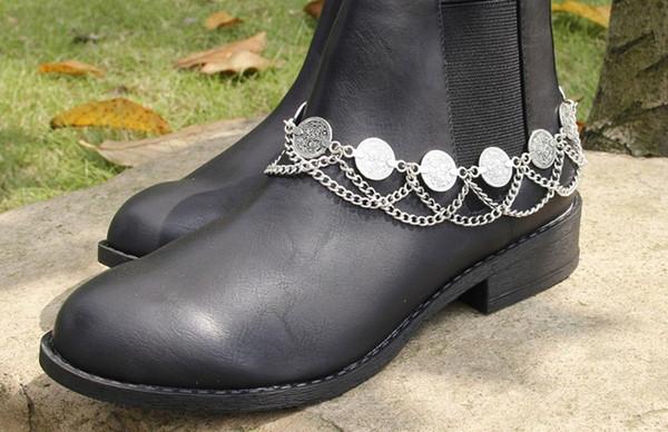 foot jewelry anklets Punk Foot Jewelry Anklets for Women Coin Tassel Boots High Heel Chains Feminina Pulseira Row Heels Chain Anklet 1pc