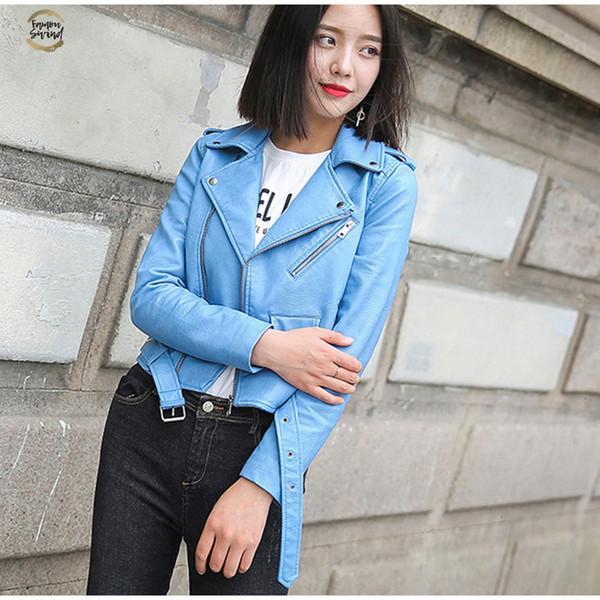 Veste en cuir pour femmes Mode Vestes Pu solide moto Faux motard court manteau doux vers le bas col Turn Hauts pour femmes en cuir