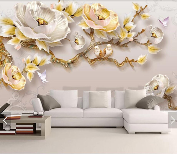3D 8D Embossed Flower Butterfly Wall Mural Photo Wallpaper for Living Room Bedroom Backdrop Wall Paper Room Decor Floral Murals