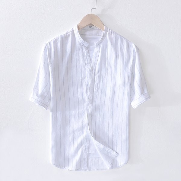 2019 Men's new summer pure linen striped half sleeve shirt stand collar loose shirt mens flax Italy style shirs men brand camisa