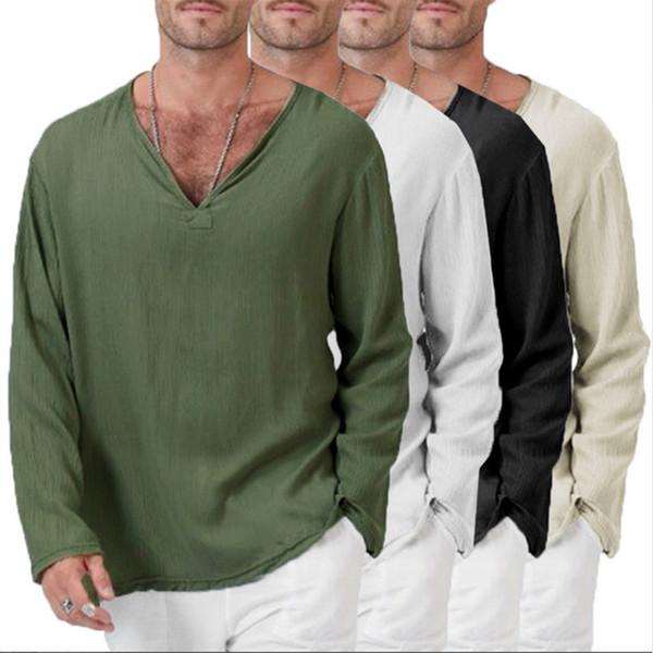 Mens Baggy Casual T Shirt Cotton Linen Tee Hippie Shirts Long Sleeve Yoga Top Men Long Sleeve T-shirt Slim V Neck Tshirt Tops
