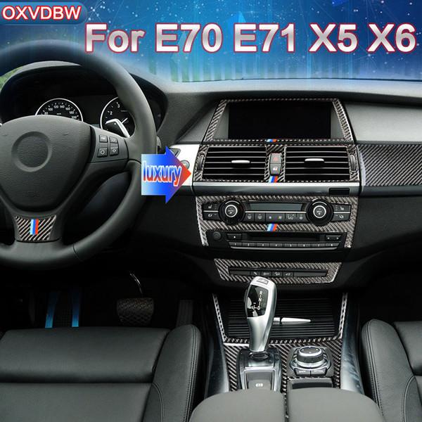 For bmw e70 e71 x5 x6 accessories Carbon Fiber Car Interior navigation control panel air condtioner outlet decorative frame