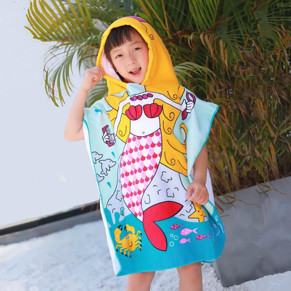 Mermaid Tubarão Padrão Toalha de Praia bebê Crianças com capuz toalha de banho Bebés Meninos Meninas cartoon banho de toalha macia para microfibra bebê