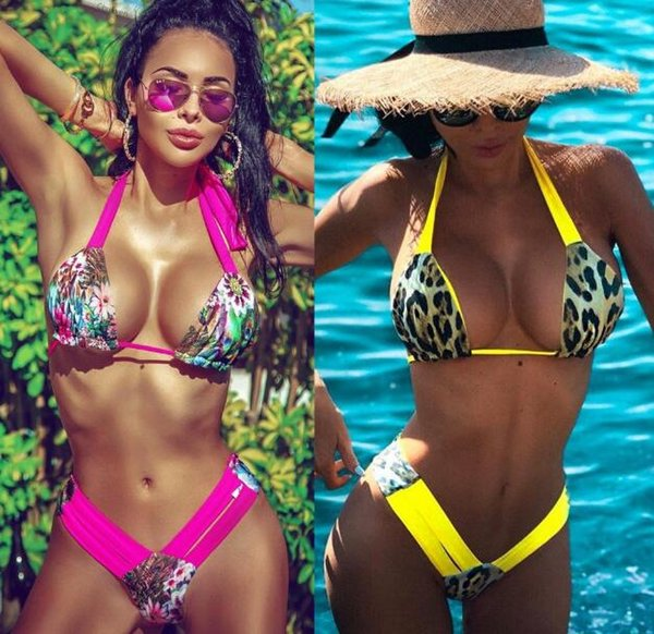 Il bikini sexy delle signore della stampa del leopardo 2019 ha spaccato il costume da bagno europeo ed americano giallo, supporto rosso del bikini del merletto di colore rosso all'ingrosso trasporto libero