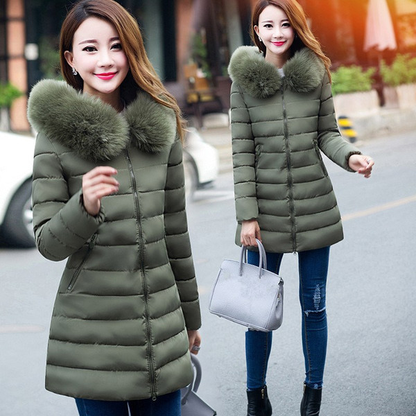 2018 Winter Plus Size Hoodied Long Coat Women's Fur Collar Thick Cotton Parkas Winter Warm 7XL Jacket