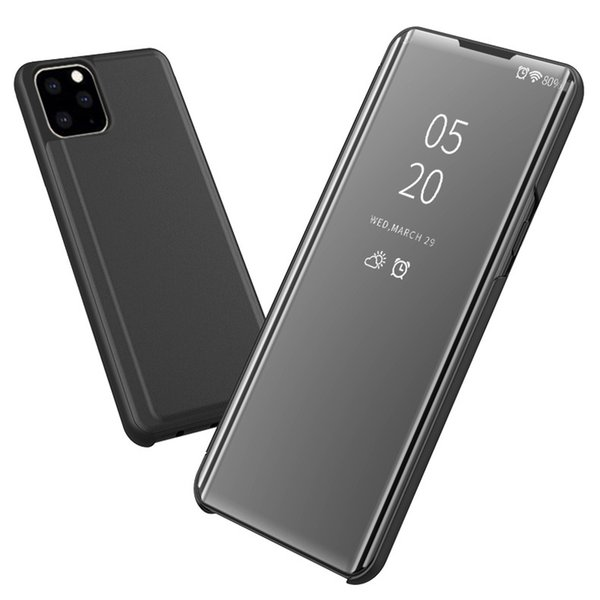 iPhone 11 Pro Max Case De Luxe Clear View Window Electroplate Placage Stand Scratchproof Tout Le Corps Flip Ultra Mince Couverture pour