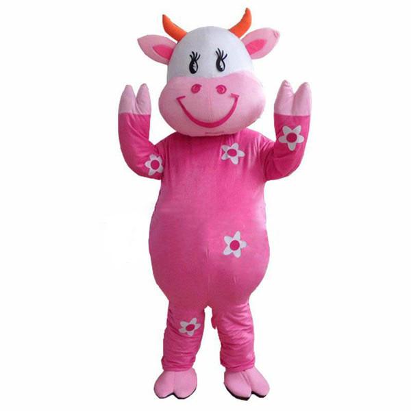 Nouveau chaud! Costumes de mascotte de vache laitière professionnelle de ferme dessin animé fantaisie robe livraison gratuite