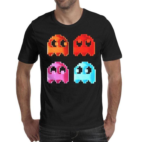 Men's T Shirt-Pac-Man ghost Designe Active Short-Sleeve Crewneck Cotton Tee