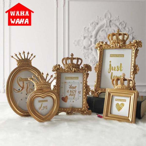 European Golden Crown Creative Resin Picture Desktop Luxury Photo Frame For Wedding Home Decorative Gift Craft C19041701