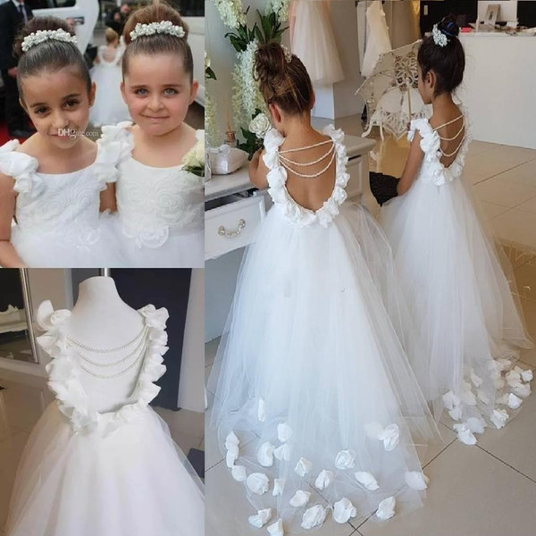 Lovely White Flower Girls Dresses For Weddings Scoop Ruffles Lace Tulle Pearls Backless Princess Children Wedding Birthday Party Dresses 143