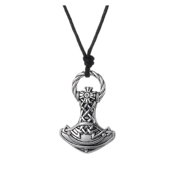 GX008 New Vintage Pagan Charms Amulet Viking Hammer Metal Religious Pendant European Style Necklaces For Man