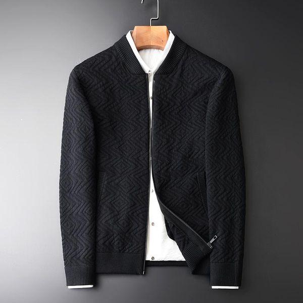 Minglu Men Sweatercoat Hight Quality Fashion Stand Collar Zipper Cardigan Man Sweater Autumn And Winter Black Mens Sweater