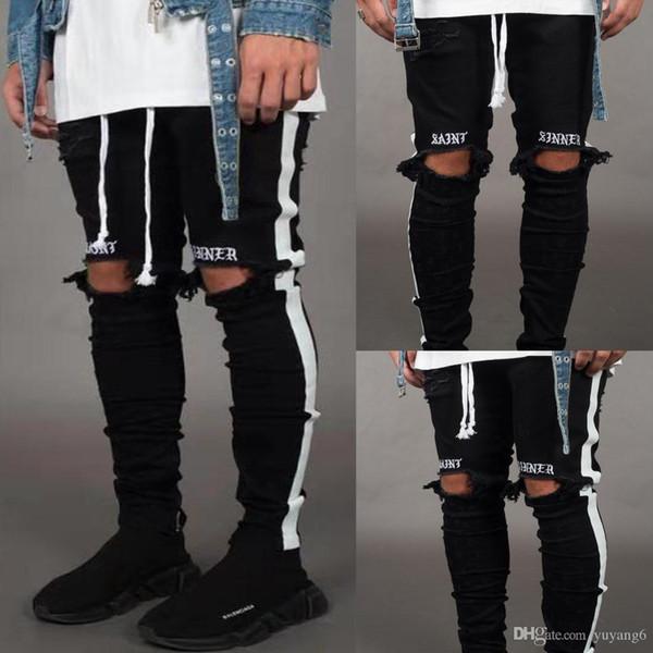 KAPALI tasarımcı kot yan şeritler delik harfler rahat pantolon tasarımcı lüks FF marka kot yüksek kalite sıcak erkek giyim toptan
