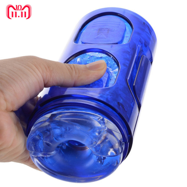 Crystal Masturbator Cup,strong Suction Pocket Pussy Toys Men Aircraft Cup Delay Spray Time Trainers For Male Masturbation C19012201